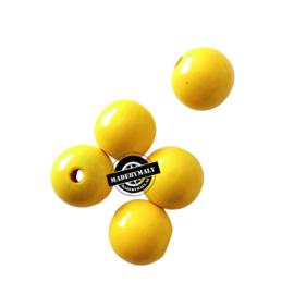 Houten kraal 15 mm rond geel