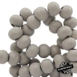 Houten kraal 8 mm rond warm light grijs
