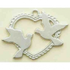 1 Silvercoloured dove metal charm - with love - Making Memories * MM34846kl