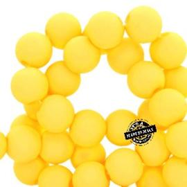 Mat acryl kralen rond 6mm geel, 40 stuks