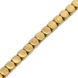 hematite cube kraal goud 2mm