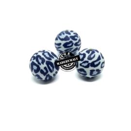 Siliconen kralen 12 mm. groot, luipaard print grijs, per stuk