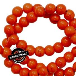 Keramiek kraal rond 6mm oranje