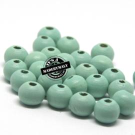 Houten kraal 8 mm rond turquoise green
