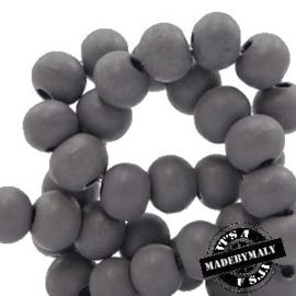 Houten kraal 8 mm rond warm donker grijs