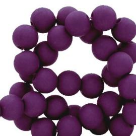 Mat acryl kralen rond 6mm royal paars, 40 stuks