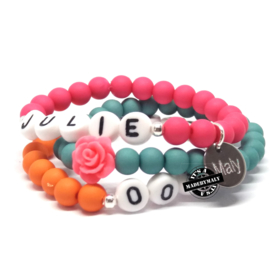 Kinderarmband, telefoonnummer,  naam -armband  en bloem armbandenset  (3 armbanden)  Kies zelf je kleuren