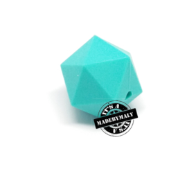 Siliconen hexagon facet kraal 17 mm, turquoise