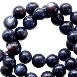 Schelp  kralen rond 6mm Blauw zwart