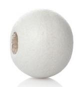 Houten kraal 8 mm rond wit