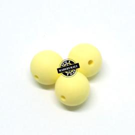 Siliconen kralen 15 mm. groot, lichtgeel , per stuk