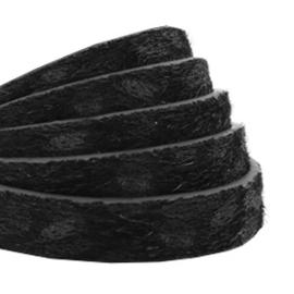 Imi leer 10mm plat leer luipaard harig zwart