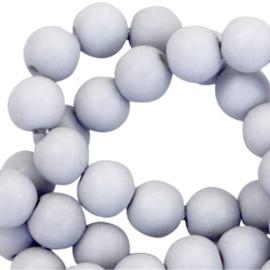 Mat acryl kralen rond 6mm Ice grey, 40 stuks