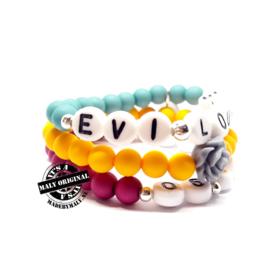 Zelfmaakpakket: prachtige naam armband, telefoonnumer armband en uni armbandenset (3 armbanden)  Kies zelf je kleuren