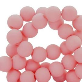 Mat acryl kralen rond 6 mm pink roze, 30 stuks