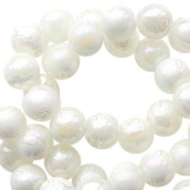 8 mm acryl kralen marble pearl creme, 30 stuks