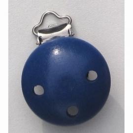 Speenclip hout, donkerblauw 35 mm
