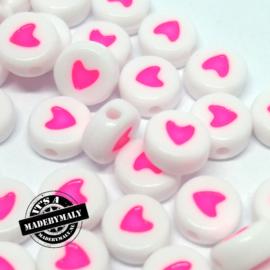 kraal met roze hartje, per stuk