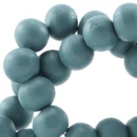 Houten kraal 12 mm Petrol Blauw