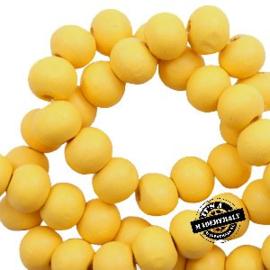 Houten kraal 8 mm rond Lemmondrop yellow geel