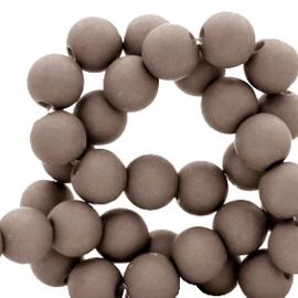 Mat acryl kralen rond 6mm taupe, 40 stuks
