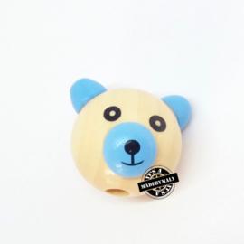 Houten kraal beer  houtkleur en blauw