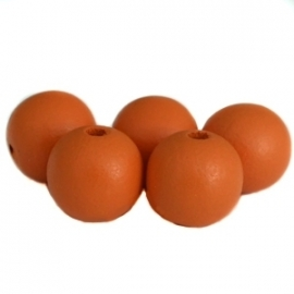 Houten kralen 12 mm Warm Oranje