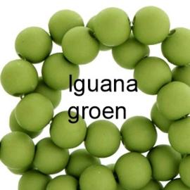 Mat acryl kralen rond 6mm Iguana groen, 40 stuks