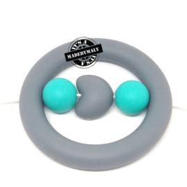 Siliconen kraal hart turquoise,  20mm, per stuk