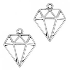 DQ metaal bedel diamant Antiek zilver (nikkelvrij)