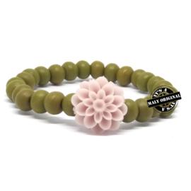 Kinderarmband met bloem mix and match hout (kies zelf je kleuren)