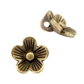 DQ metaal bedel bloem Antiek brons (nikkelvrij)