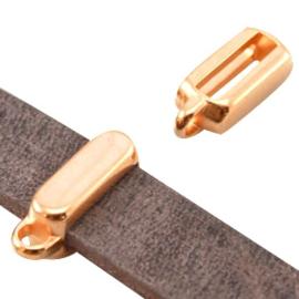 DQ metalen schuiver met oog rechthoek (voor DQ leer plat 10mm) Rosé goud (nikkelvrij)