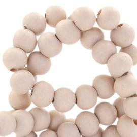 Houten kralen 8 mm rond Sand beige roze