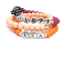 Kinderarmbandenset met telefoonnummer armband, naam armband  en uni armbanden (3 armbanden)  Kies zelf je kleuren