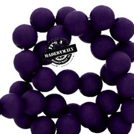 Mat acryl kralen rond 6mm paars donkerviolet, 40 stuks