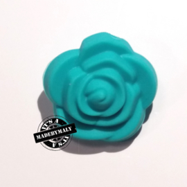 Siliconen bloem kraal 20mm, turquoise