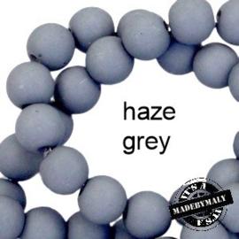 Mat acryl kralen rond 6mm Haze grey, 40 stuks