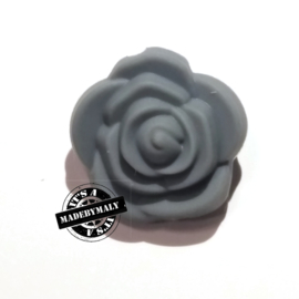 Siliconen bloem kraal 20mm, donkergrijs