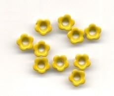 10 bloementjes eyelets geel