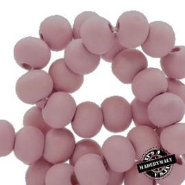 Houten kralen 8 mm rond Light  Ballet Pink roze