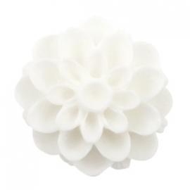 Dahlia bloem kraal 14mm matt Wit