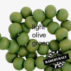 Houten kralen 8 mm rond Light olive groen