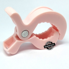 maxicosi clip, kinderwagen clip, boxhanger clip, speelkoord clip, swaddle clip - licht roze