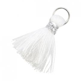 Ibiza style kwastje 2cm Zilver-Wit