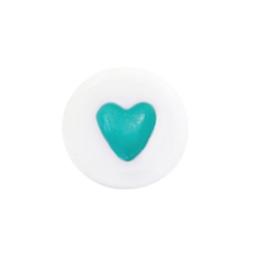 kraal met turquoise hartje, per stuk