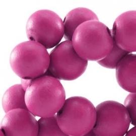Houten kraal 12 mm Fuchsia roze