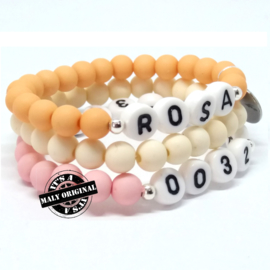 Kinderarmband telefoonnummer, naam armband  en uni armbandenset  (3 armbanden)  Kies zelf je kleuren