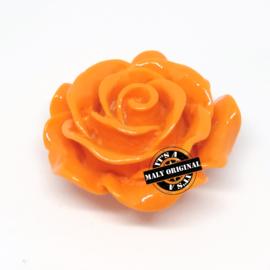 Roos bloem kraal 28 mm oranje