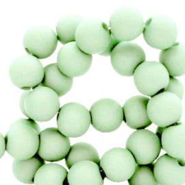 Mat acryl kralen rond 6mm Zacht groen, 40 stuks